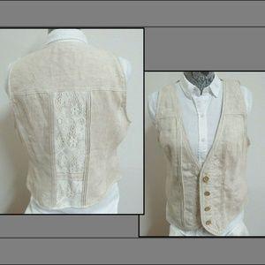 12 Tan Lace Coldwater Creek Womens #565 Suit Vest